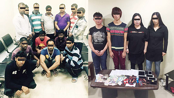 Above left: Asians found living in under construction buildings and gays, prostitutes arrested in raids (right).