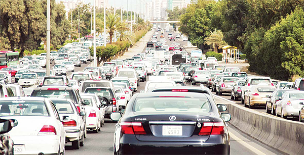 Traffic jams are a common sight on Kuwait roads