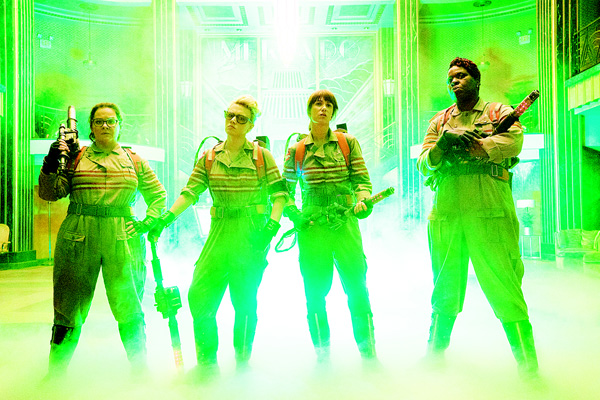 This image released by Sony Pictures shows (from left), Melissa McCarthy, Kate McKinnon, Kristen Wiig and Leslie Jones in a scene from 'Ghostbusters', opening nationwide on July 15. (AP)