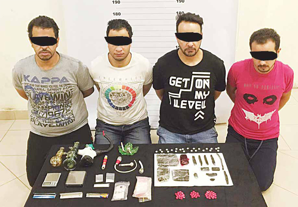 Four Egyptian drug peddlers were arrested in possession of different types of drugs in a sting operation by CID police