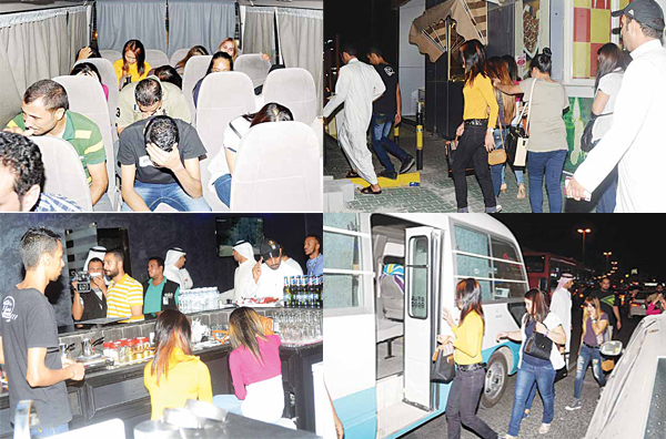 Pictures taken during the raid conducted to arrest residence law violators at coffee shops in Hawally.