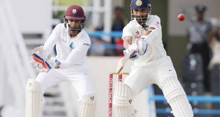 India's Ajinkya Rahane plays a shot under the look of West Indies' wicketkeeper Shane Dorwich during day one of their first cricket Test match against West Indies at the Sir Vivian Richards Stadium in North Sound, Antigua on July 21. (AP)