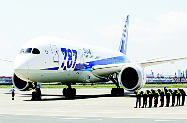 In this file photo, ground crewmen bow as a Boeing 787 'Dreamliner' of Japanese airline All Nippon Airways lands after a test flight at Haneda International Airport in Tokyo. ANA has started grounding Boeing 787 flights after detecting problems with their Rolls-Royce engines. (AP)