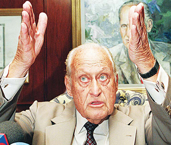 This file photo taken on Aug 6, 1997 shows then President of the Federation International Football Association (FIFA) Joao Havelange speaking during a press conference where he announced Aug 7 in Rio de Janeiro, the participation of the the Brazilain national soccer team in the 1998 World Cup competition in France. (AFP)