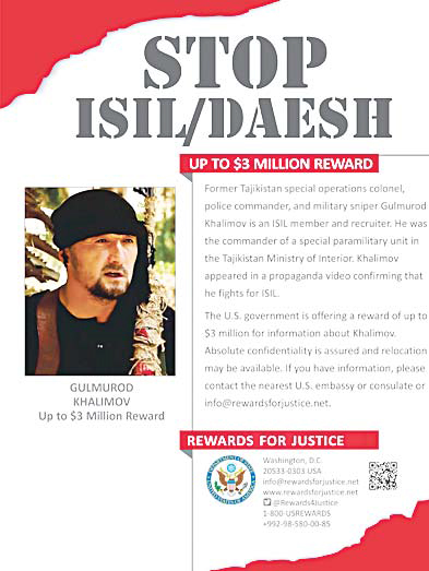 This poster obtained Aug 30 from the US State Department's Rewards For Justice shows Gulmorod Khalimov.