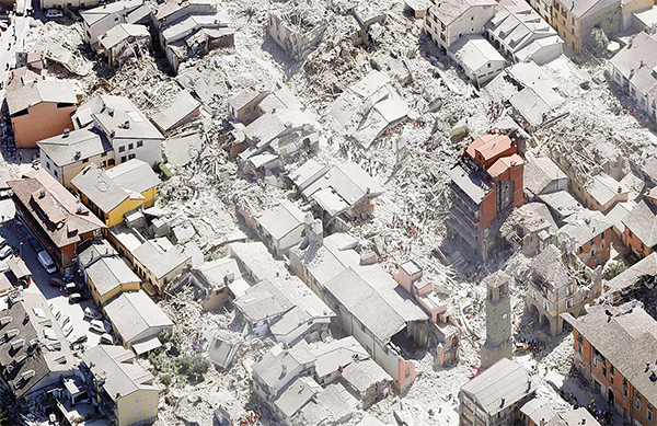 Aerial view of Amatrice in central Italy, on Aug 24, as it appears after a magnitude 6 quake struck at 3:36 am (0136 GMT) and was felt across a broad swath of central Italy, including Rome where residents of the capital felt a long swaying followed by aftershocks. (AP)