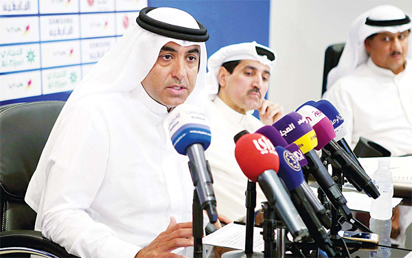 The newly-appointed Chairman of the Kuwaiti Football Association (KFA) Fawaz Al-Hasawi, speaks during a press conference on Aug 28, at the KFA headquarters in Kuwait City. Kuwait announced on Aug 25 that it had sacked the board of directors of both its Olympic committee and football association. Sheikh Fahad Jaber Al- Ali Al-Sabah has been named as the new head of the Olympic committee, replacing Sheikh Talal Fahad Al- Sabah. Fawaz al-Hasawi has been chosen to lead the football association. (AFP)