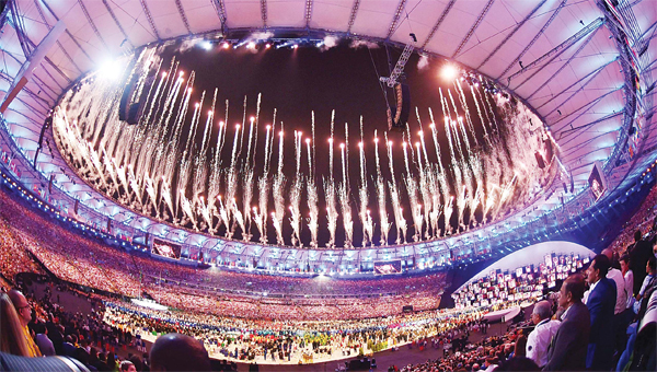 Fireworks are set off during the opening ceremony of the Rio 2016 Olympic Games at the Maracana Stadium in Rio de Janeiro on Aug 5. (AFP)
