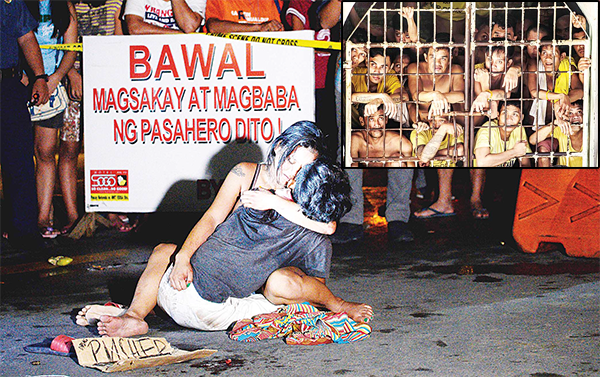 This file photo taken on July 23, 2016 shows Jennilyn Olayres hugging the dead body of her partner Michael Siaron who was shot by unidentified gunman and left with a cardboard sign with a message 'I'm a pusher' along a street in Manila. Hundreds of people have died since President Rodrigo Duterte won a landslide election in May, promising to rid society of drugs and crime in six months by killing tens of thousands of criminals. (Inset): This file photo taken on July 18, 2016 shows inmates peeking from their cell inside the Quezon City Jail in Manila. Images of hellish conditions at an overcrowded Philippines jail have triggered calls on Aug 4 from lawmakers and rights groups for swift reforms to the penal system which is under strain from an anti-drugs crackdown. (AFP)