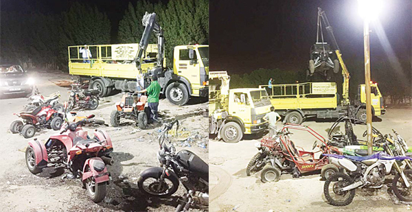 Left to right: Some of the vehicles and motorbikes seized