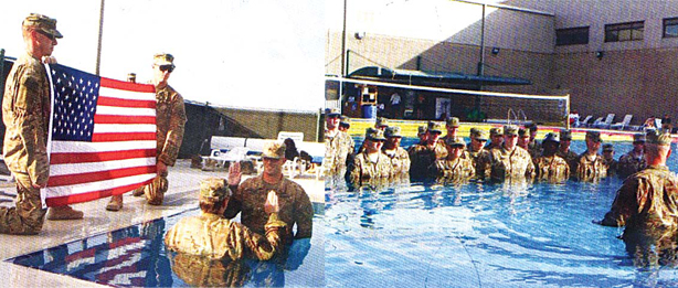 Ceremonies conducted in a pool.