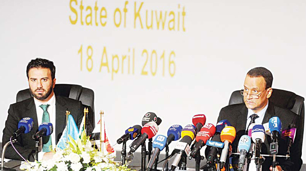 The UN special envoy for Yemen Ismail Ould Cheikh Ahmed and UN spokesman Charbel Raji speak during a press conference in Kuwait City on Aug 6, at the end of peace talks, a few hours after Yemen's rebel Shiite Houthis and forces loyal to their ally, former president Ali Abdullah Saleh, appointed a joint council to govern Yemen. (AFP)