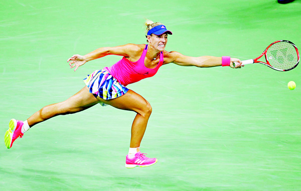 Angelique Kerber, of Germany, can't return a shot to Petra Kvitova, of the Czech Republic, during the fourth round of the US Open tennis tournament on Sept 4 in New York. (AP)