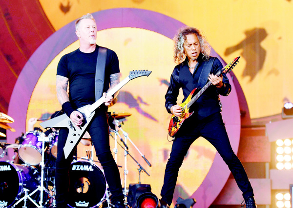 Kirk Hammett (right), and James Hetfield of Metallica perform at the 2016 Global Citizen Festival in Central Park to end extreme poverty by 2030 at Central Park on Sept 24 in New York City. (AFP)