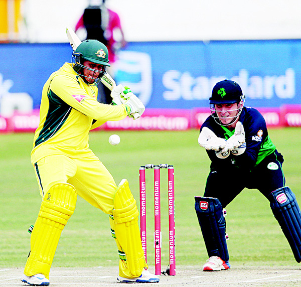 Australia's batsman Usman Khawaja plays a shot during Australia against Ireland ODI cricket match on Sept 27, at the Willowmoore cricket ground in  Benoni, South Africa. (AFP)