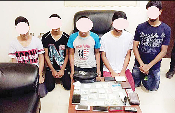 The gang arrested and stolen items found in their possession
