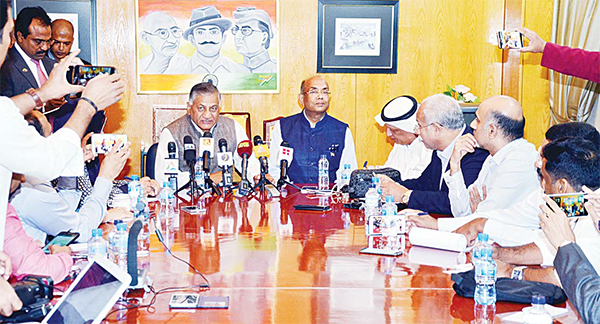India's Minister of State for Foreign Affairs Gen V.K. Singh addressing the press, to his left is India's envoy to Kuwait Sunil Jain.