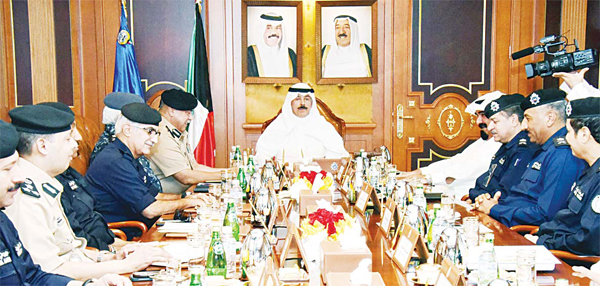 The Minister of Interior Sheikh Mohammad Al-Khalid Al-Sabah chairs the security meeting