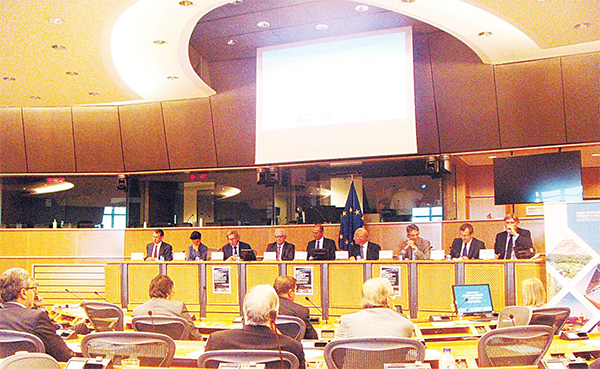 Moroccan Interior Minister Mohamed Hassad speaking in the European Parliament