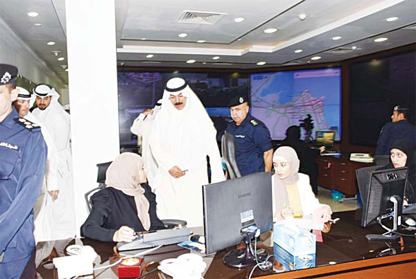 Acting Prime Minister and Minister of Interior Sheikh Mohammad Al-Khaled Al-Hamad Al-Sabah during his visit to headquarters of the Traffic Department. The minister stressed traffic policemen must be present to control traffic during the rush hours.