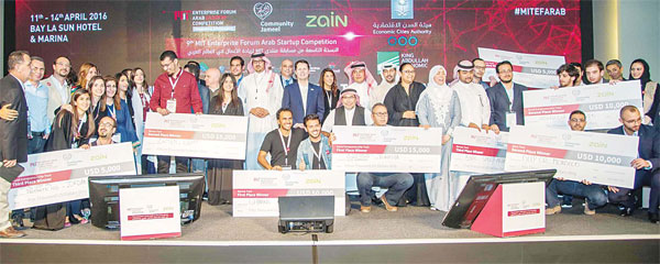 A group photo of the winners of the 2016 MITEF Pan Arab competition final ceremony that was held in King Abdullah Economic City, KSA.
