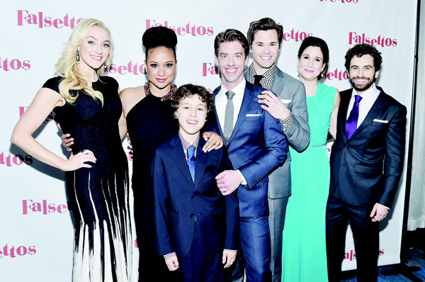 (Left to right): Betsy Wolfe, Tracie Thoms, Anthony Rosenthal, Christian Borle, Andrew Rannells, Stephanie J. Block, and Brandon Uranowitz attend 'Falsettos' Opening Night — Press Room at New York Hilton Midtown on Oct 27 in New York City. (AFP)