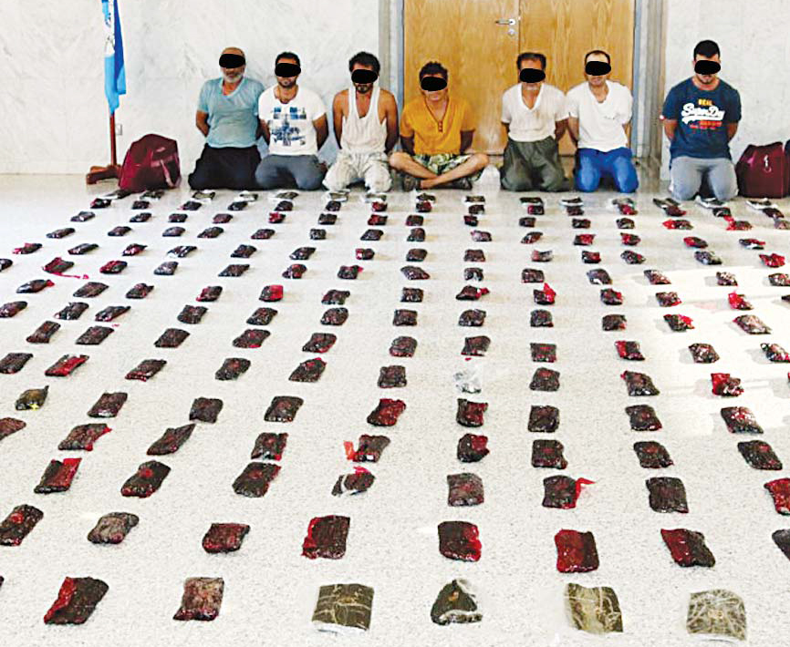 The seven people arrested with 140 kg of cannabis hash