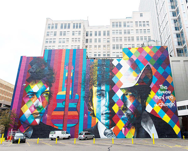 A mural of songwriter Bob Dylan by Brazilian artist Eduardo Kobra is on display in downtown Minneapolis, Minnesota on Oct 15. On Oct 13, Dylan was awarded the Nobel Prize in Literature. (AFP)