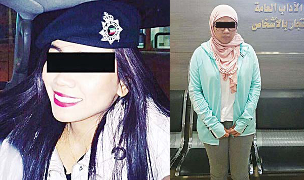 Left: The woman wearing a 'beret' was arrested in Hawally (right).