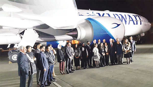 Photo during the launching of Kuwait Airways' new livery on the first of ten new Boeing 777-300ERs