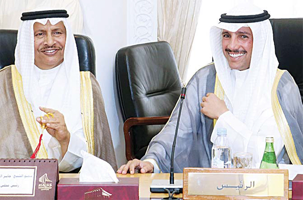 HH the Prime Minister Sheikh Jaber Al-Mubarak Al-Sabah (left), and Kuwaiti Parliament Speaker Marzouq Al-Ghanem (right), attend a meeting between Cabinet members and members of the National Assembly, in Kuwait City on Oct 5, to discuss the government decision to increase petrol prices. (AFP)