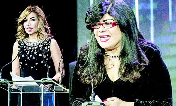 Princess Ghida Salam, spouse of Jordan's Prince Talal Ibn Mohammad, delivers a speech afer receiving a Lifetime Achievement award. (AFP) - Egyptian Iman Bibars, from the Ashoka organization, speaks after receiving an International Contribution to Arab Society award. (AFP)