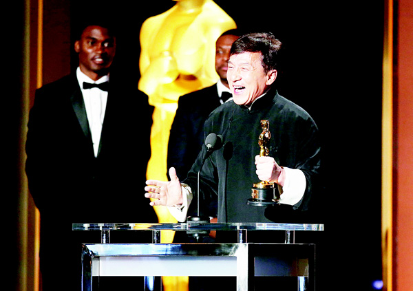 Honoree Jackie Chan accepts his award during the Academy of Motion Picture Arts and Sciences' 8th annual Governors Awards at The Ray Dolby Ballroom at Hollywood & Highland Center on Nov 12, in Hollywood, California. (AFP)