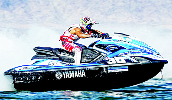 This file photo shows Kuwait's jet-ski champion Abdullah Al-Fadhl in action.