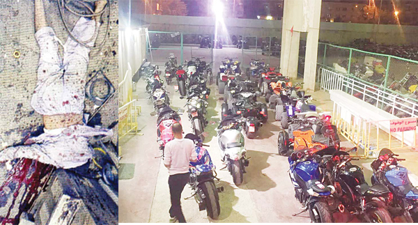 (Left) Pakistani National after the blast (Right) The seized bikes in the Municipality garage