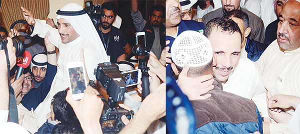 Left: Marzouq Al-Ghanim being carried shoulder-high to celebrate his victory in the parliamentary elections. Right: A supporter hugs the victorious Al-Ghanim