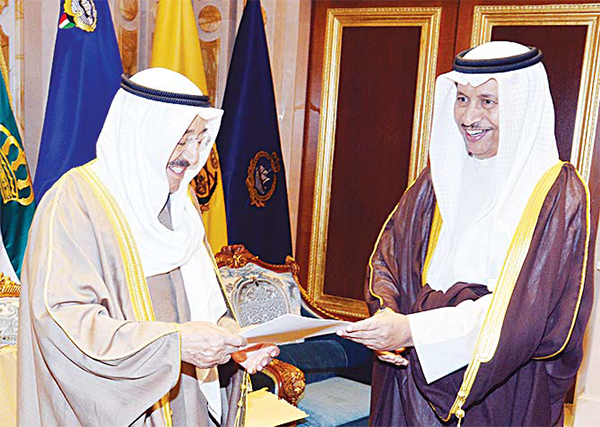 HH the Amir receiving the Cabinet's resignation letter from HH the Prime Minister
