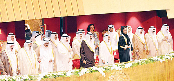 A handout picture released by the official Kuwait News Agency (KUNA) on Oct 31 shows His Highness the Amir of Kuwait Sheikh Sabah Al-Ahmad Al-Jaber Al-Sabah (5th right), His Highness the Crown Prince Sheikh Nawaf Al-Ahmad Al-Jaber Al-Sabah (6th right), and Sheikha Moza of Qatar (4th right), attending the opening ceremony of the Sheikh Jaber Al-Ahmad Grand Cultural Centre in Kuwait City. (AFP)