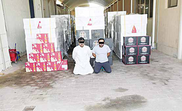 Cartoons of liquor and the two suspects arrested for smuggling the liquor