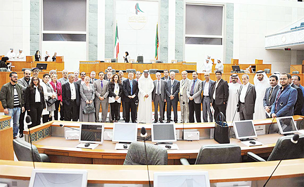 Local and foreign media delegations visiting the National Assembly building