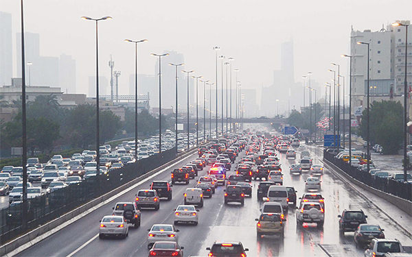 Traffic movement came to a halt on most roads due to heavy rains, accompanied by thunder and lightning, that hit Kuwait Thursday.