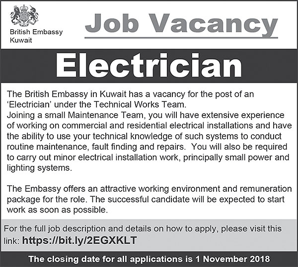 Electrician for British Embassy in Kuwait - ARAB TIMES - KUWAIT NEWS
