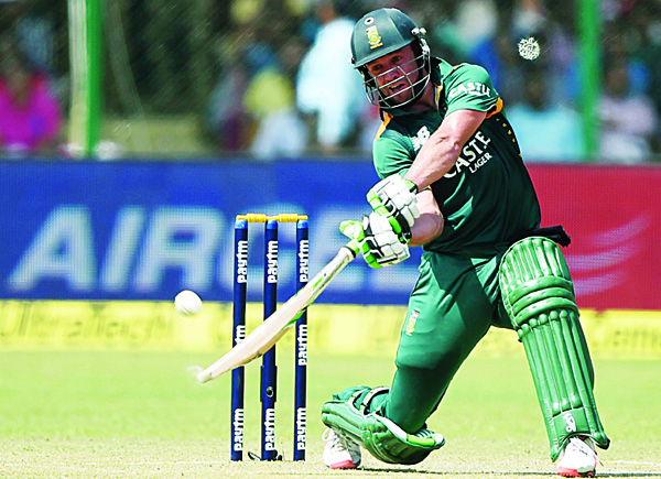 South Africa's captain AB de Villiers plays a shot during the first One-Day International (ODI) cricket match between India and South Africa at Green Park Stadium in Kanpur on Oct 11. (AFP)