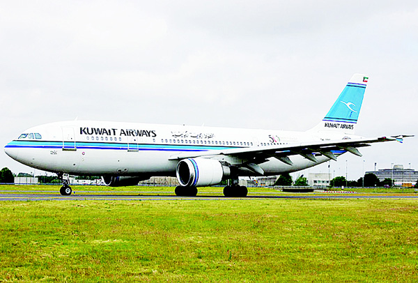 A Kuwait Airways aircraft parked at the tarmac