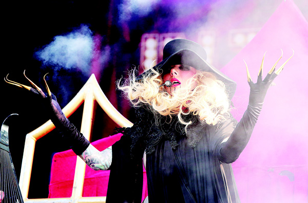 Maria Brink of the band In This Moment performs in concert during the Rock Allegiance Festival at PPL Park on Oct 10 in Chester, Pa. (AP)