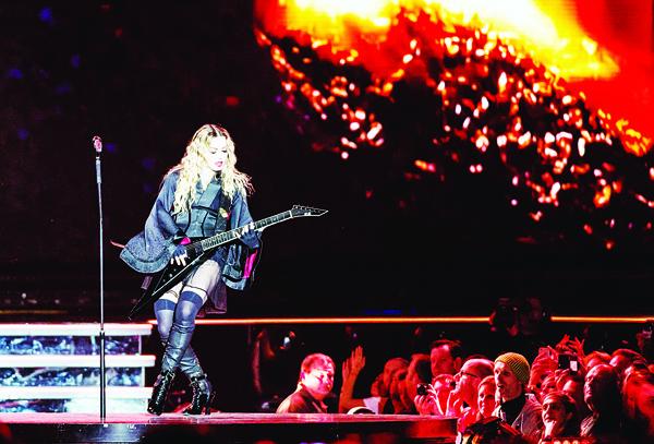 US singer Madonna performs during a concert in Antwerp on Nov 28. (AFP)