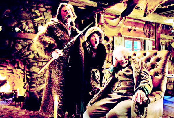 This photo provided by The Weinstein Company shows Kurt Russell (from left), Jennifer Jason Leigh and Bruce Dern in a scene from the film, 'The Hateful Eight', directed by Quentin Tarantino. The movie opened in US theaters on Jan 1. (AP)