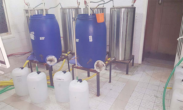The distillation equipment used for manufacturing liquor.