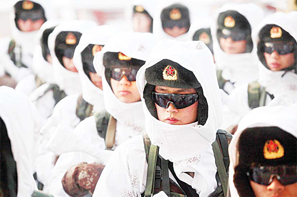 Chinese People's Liberation Army (PLA) soldiers line up during a winter training drill in Heihe in northeastern China's Heilongjiang province.