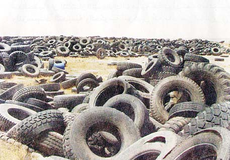 Used tires seen dumped at the site in Ureiha